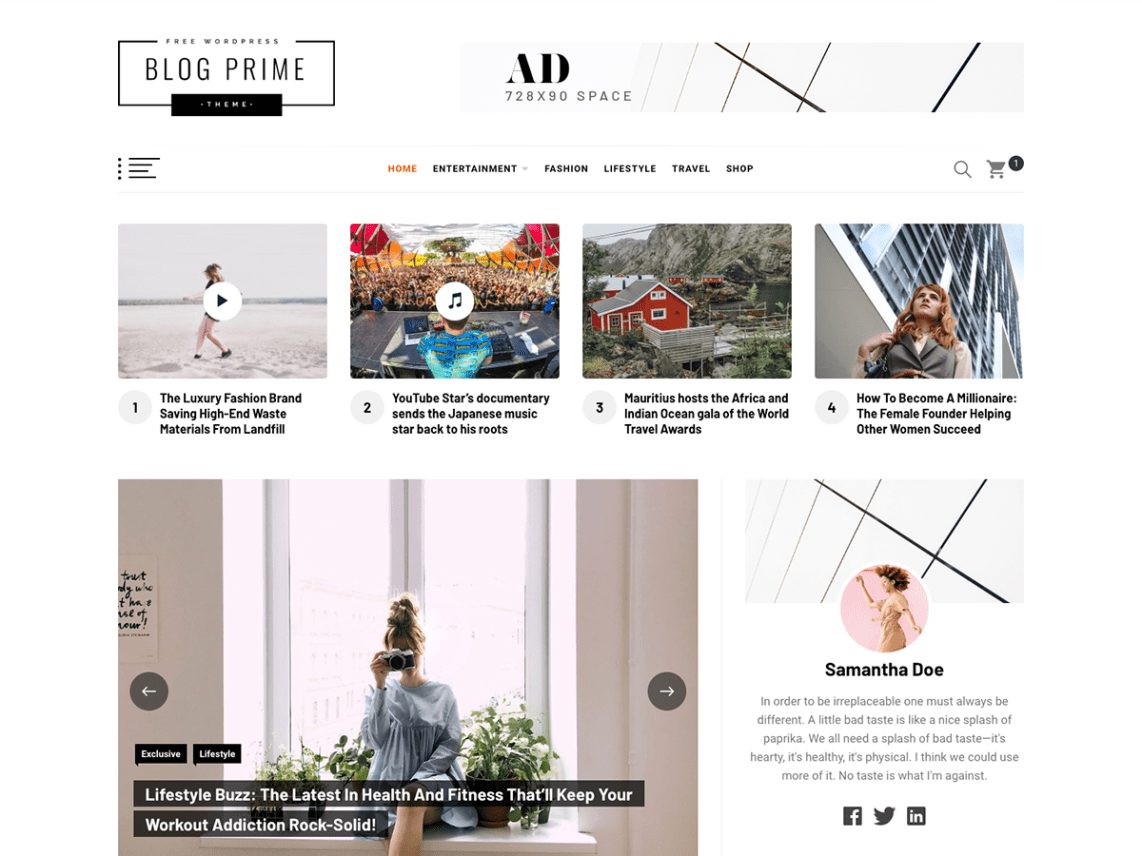 Blog Prime Free WordPress Blog Theme